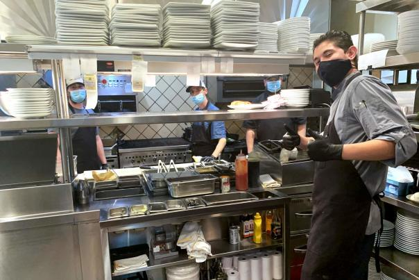 Newport Grill Cooks with Masks