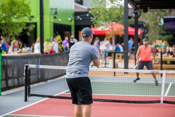 Playing Pickleball at Chicken N Pickle