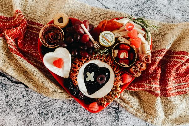 food and candy in a heart shaped box