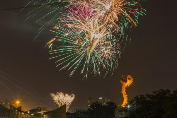 Fireworks Over the Keeper of the Plains