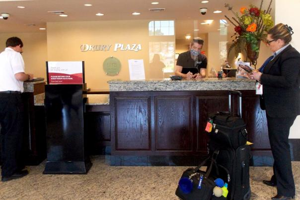 Drury Plaza Broadview Helping Guests with Masks