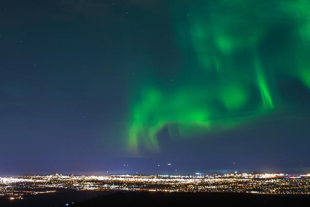 Northern lights viewing over Anchorage, Alaska