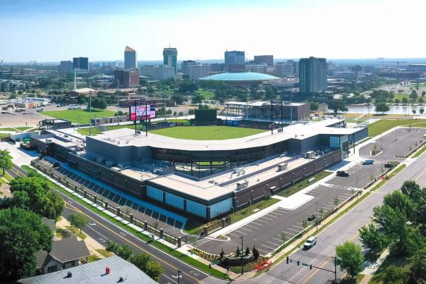 Aerial Shot of Riverfront Stadium and Downtown Wichita