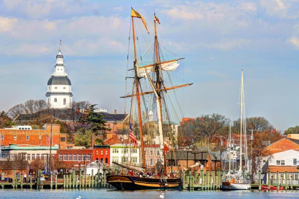 The tall ship Pride of Baltimore at city dock in Annapolis, MD.