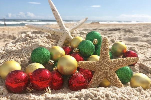 A creative array of decorative ornaments on the beach
