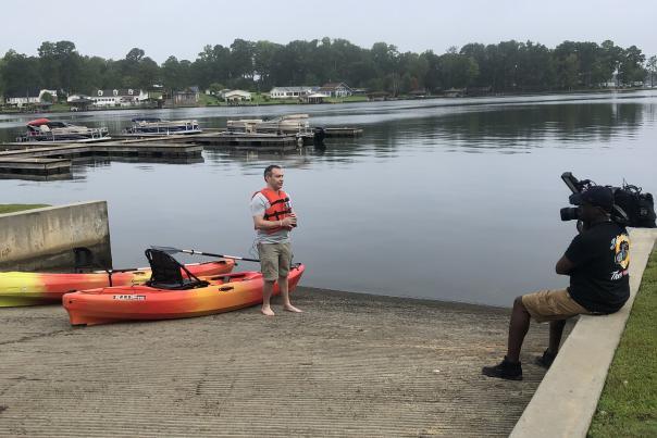 Paul from Fox 5 at Lake Sinclair