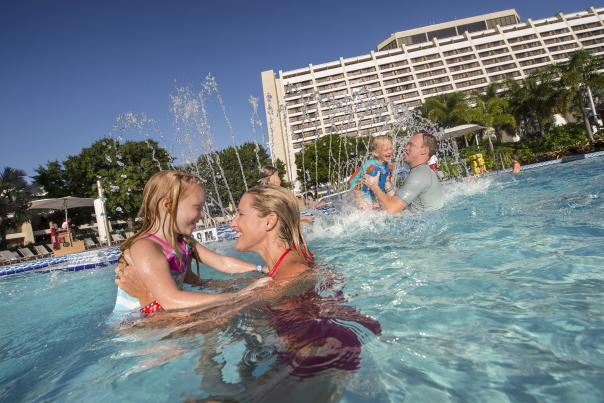 Disney's Contemporary Resort family in pool