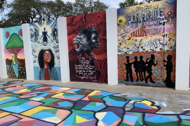 Vibrant murals in Eatonville, Florida, near Orlando