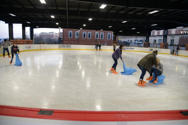 Ice skating in the Foundry Pavilion