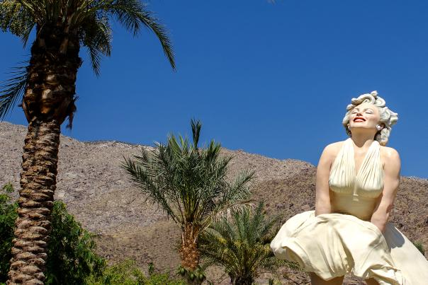 Palm Trees and Forever Marilyn Statue