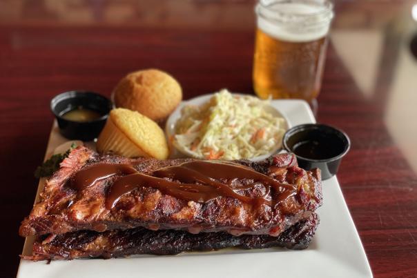 Rack of ribs and beer at Smokehouse
