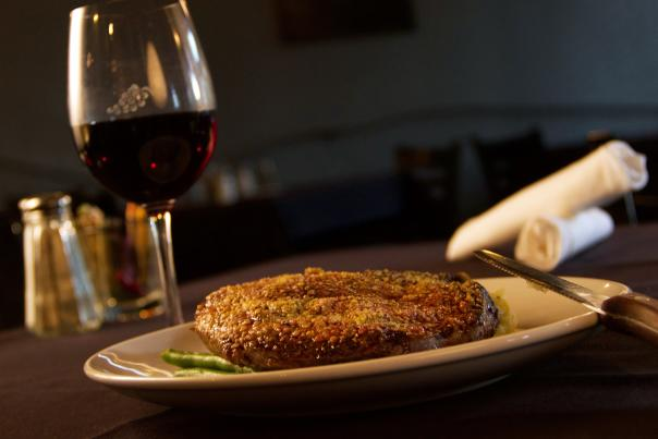 Steak Dinner at Twisted Cuisine - Parmesan Crusted Ribeye and Red Wine