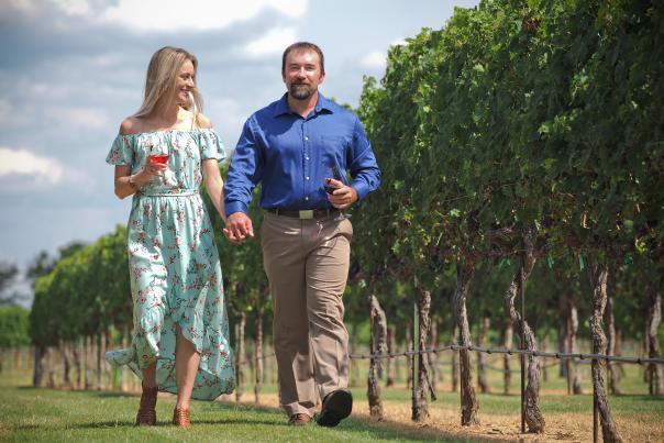 Couple in Vineyard Romance