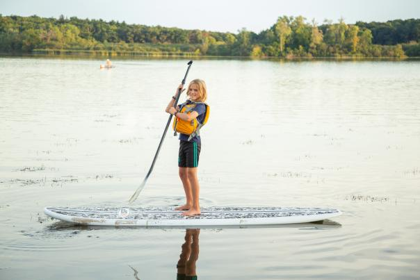 Stand-up paddleboarding on the lake