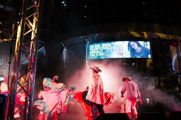 Latin cultural performers dance at IMMERSE event in downtown Orlando.