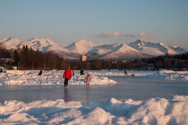 Anchorage ice skating at Westchester Lagoon