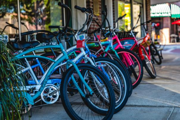 Bikes lined up in downtown Winter Garden
