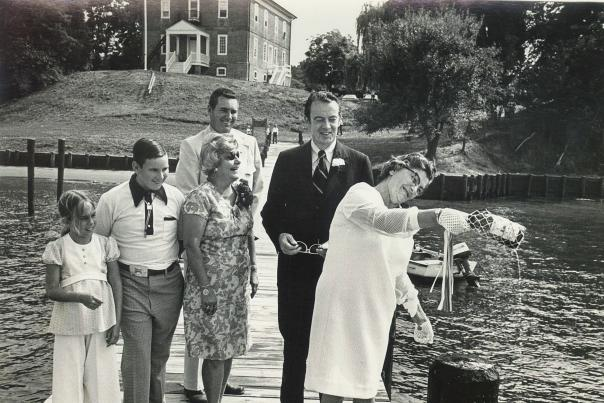A black and white photo by M. E. Warren dedicating  the South River Dock circa 1970's