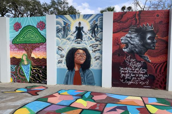 Wall of murals in Eatonville