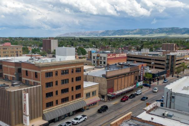 Aerial view of downtown Casper, WY