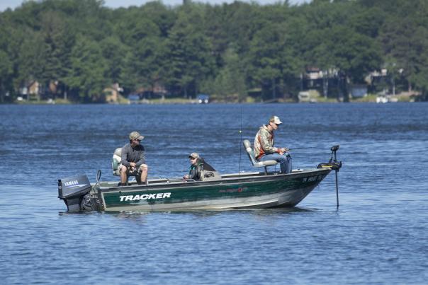 Three men fish