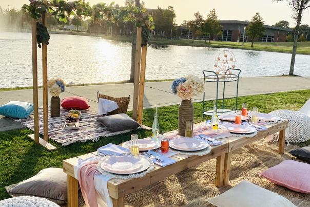 A swanky picnic setup right on the water in Beaumont, TX.