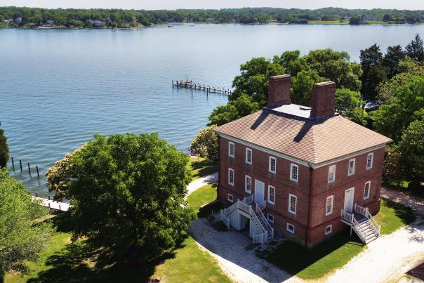 The William Brown House aerial view and the South River