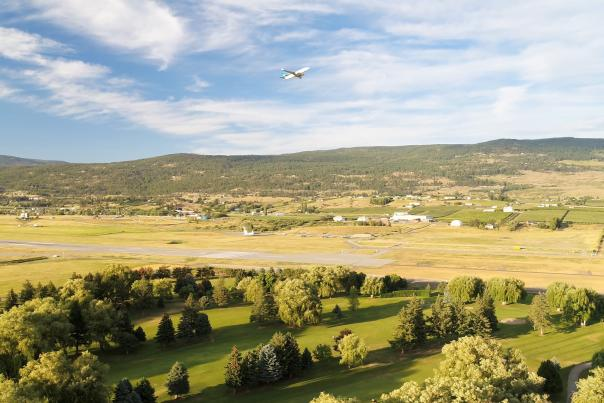 Plane taking off from Kelowna Airport