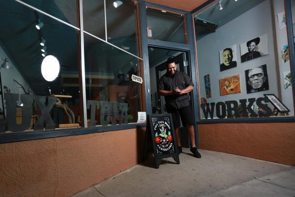 Jude Candelaria outside Flux Tufa Works