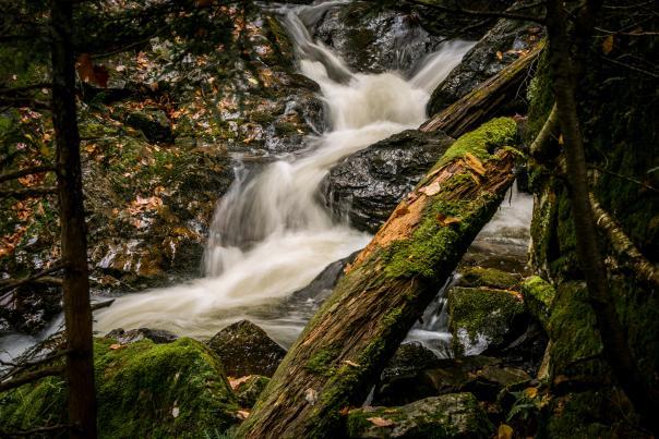 A long exposure shot of Big Pup Creek Falls in the fall