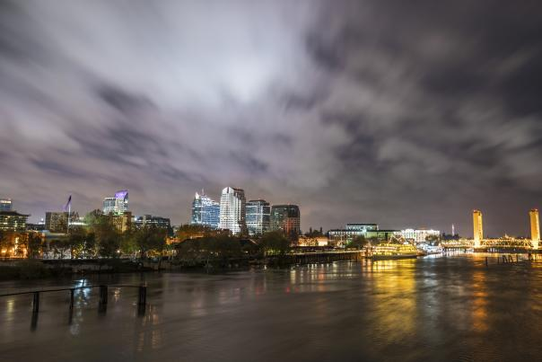 Water Skyline Night Photo