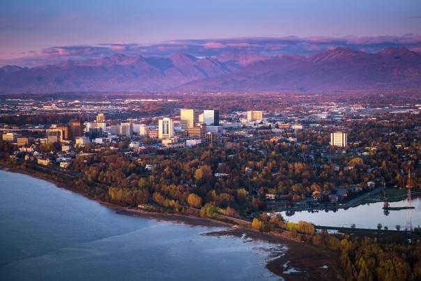 Fall view of Anchorage and surrounding mountains