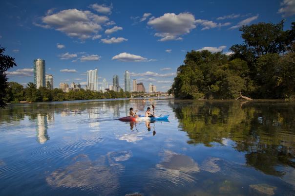 Kayak on Lady Bird Lake. Courtesy of Visit Austin.