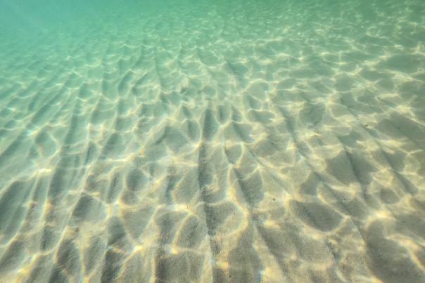 An underwater shot of clear Lake Superior