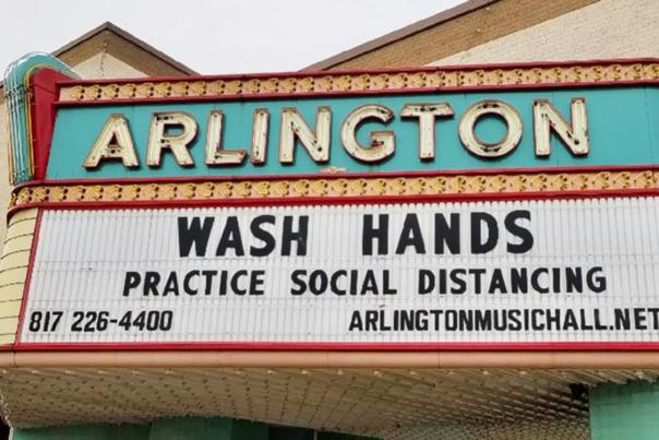 Arlington Music Hall wash hands sign