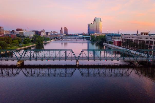 Skyline photo via drone. North Grand Rapids facing south. Fall, 2018