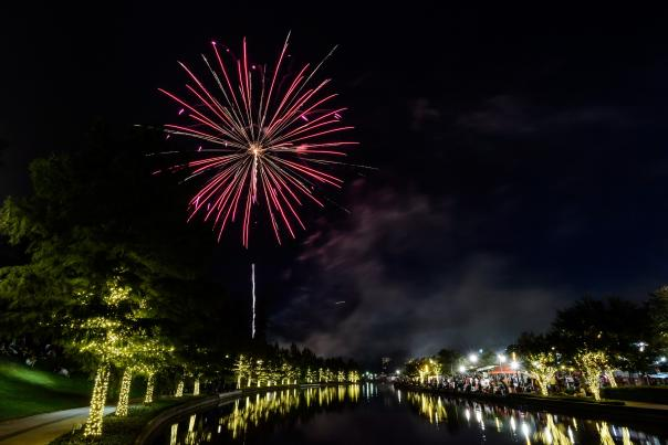 Fireworks along The Woodlands Waterway