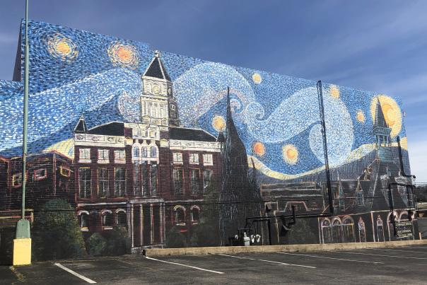 Clarksville mural in the style of Van Gogh's Starry Night