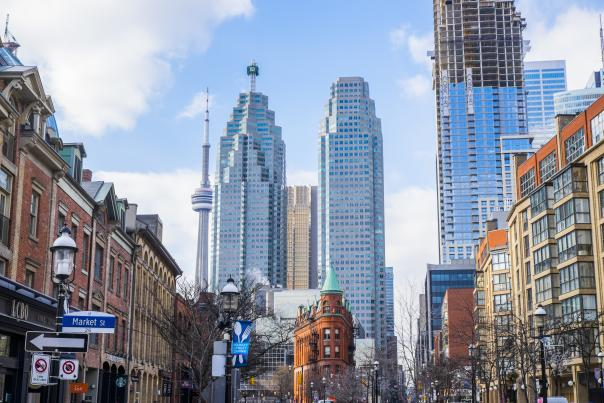 A view of the city skyline and Gooderham & Worts building from the Old Town neighbourhood on Front Street