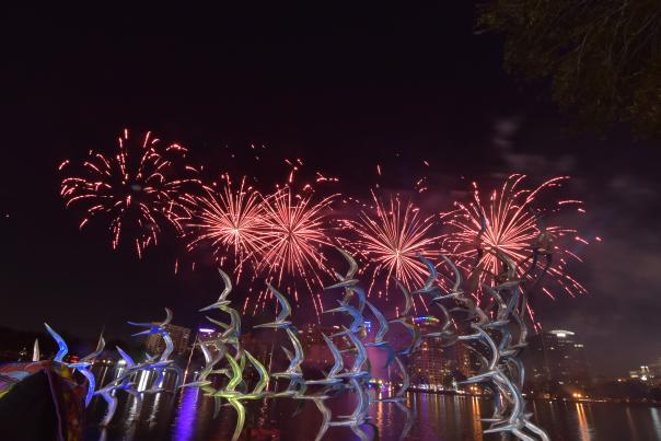 Come Out With Pride fireworks over Lake Eola