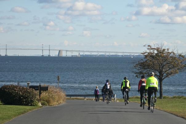 Bay bridge views for lifeline 100 bike riders