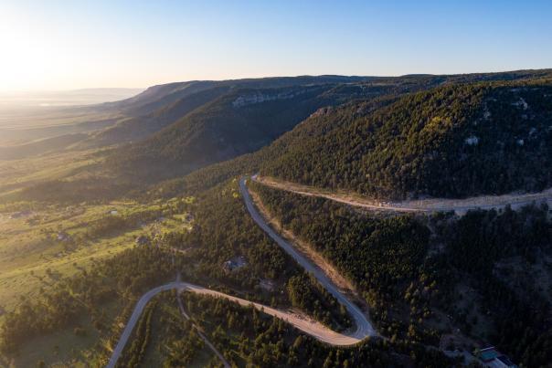 Casper Mountain Road zig-zags up the side of Casper Mountain.