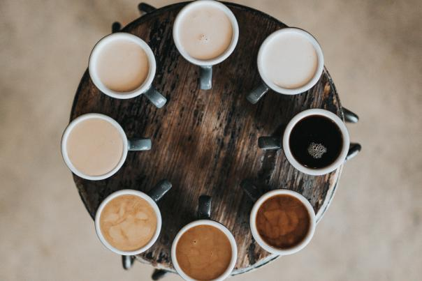 a variety of coffee cups