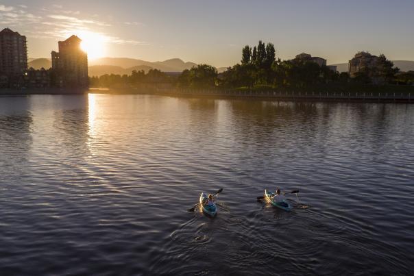 Kayaks on the lake in downtown Kelowna
