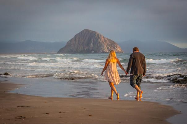 Beach Couple with Morro Rock