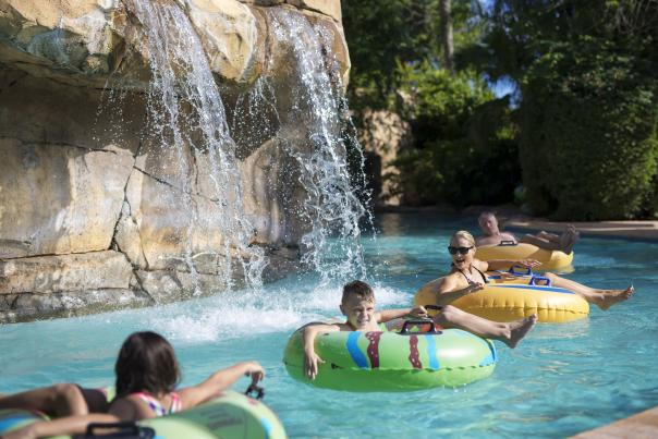 Reunion Resort family in lazy river