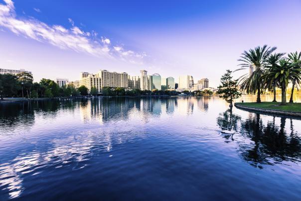 downtown Orlando skyline and lake Eola