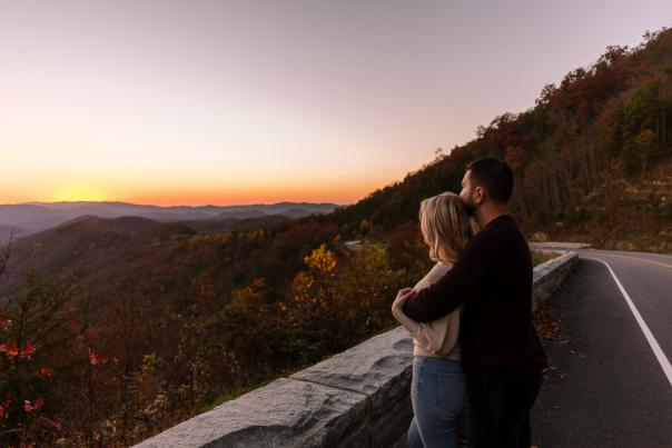 Couple along the Foothills Parkway at Sunset