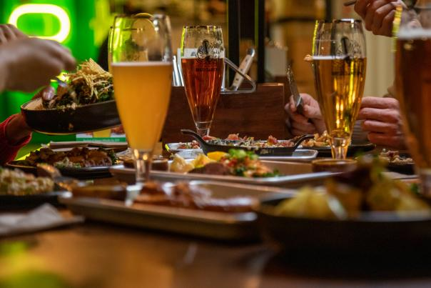 A selection of craft beer and food available at Toronto's Steam Whistle Brewery