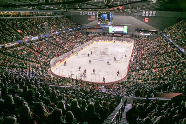 Inside a Griffins Hockey game at Van Andel Arena, 2018.